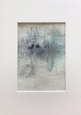 Papierarbeit Türkis I, Marmormehl, Pigmente, Tusche und Acryl auf Aquarellpapier, 21 x 30 cm