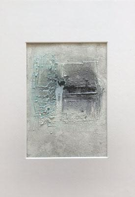 Papierarbeit Türkis II, Marmormehl, Pigmente, Tusche und Acryl auf Aquarellpapier, 21 x 30 cm