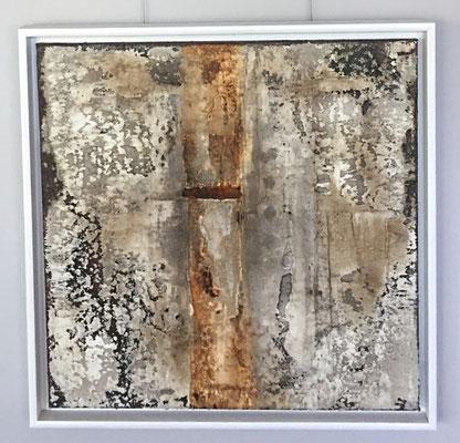 Strukturen I, Marmormehl, Haftgipsputz, Beizen, Tusche, Pigmente und Wachs auf Leinwand, 50 x 50 cm