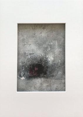 Papierarbeit Magenta I, Marmormehl, Pigmente, Tusche und Acryl auf Aquarellpapier, 21 x 30 cm