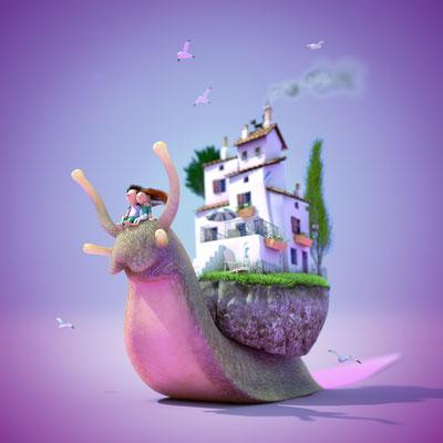 illustration 3d escargot. matthieu roussel