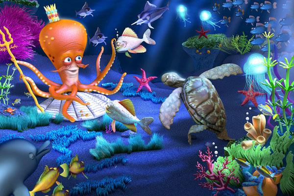 Illustration 3d le roi de la mer pour les éditions Retz