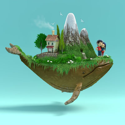 illustration 3d baleine. matthieu roussel