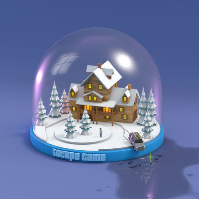 Escape game illustration 3d boule à neige