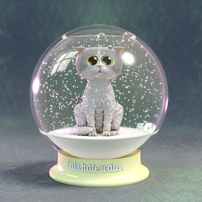 illustration 3d boule à neige chat