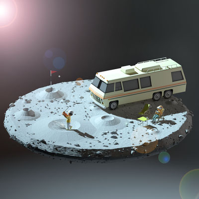 Lunar golf...illustration 3d