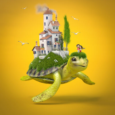illustration 3d tortue matthieu roussel