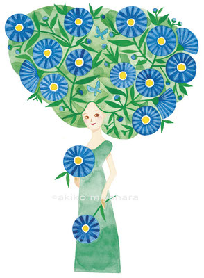 人物/青い花