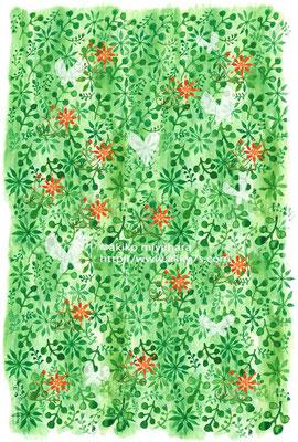 植物/グリーンに赤い花と蝶