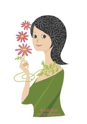 人物/花を持つ人