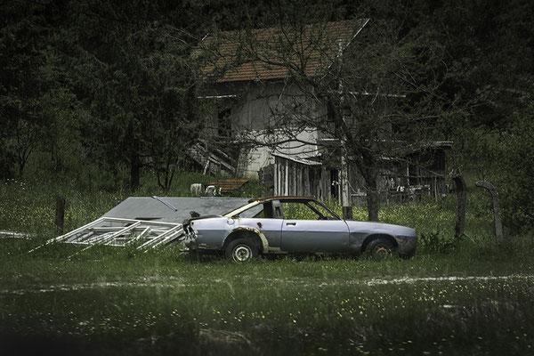 40x60 cm - Les Balkans : sur la route entre Bihac et Jajce en Bosnie