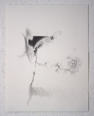 """""""Ce qui se fracasse en silence"""", dessin, 50,5x65,5 cm, graphite sur BFK Rives, 2019, photo © David Kidman"""