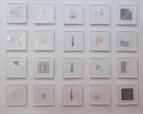 """Série """"Les Nouveaux venus"""", 20 dessins, vue de l'exposition """"Carte blanche à Emmanuelle Bec"""" à la Galerie 18, 2018, photo © Toma Bach"""