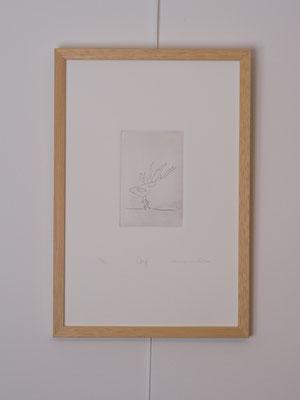 """""""Cerf"""", gravure num. 1/12, 6 x 9 cm, burin sur zinc, photo © Toma Bach"""