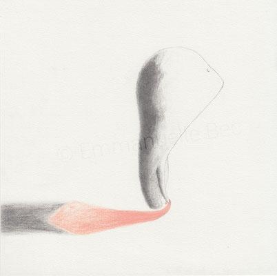 """""""L'âme en peine"""", dessin, graphite et crayon de couleur sur papier, 21x21 cm, 2016"""