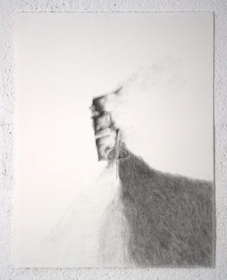 """""""Déraillement"""", dessin, 50,5x65,5 cm, graphite sur BFK Rives, 2018, photo © David Kidman"""