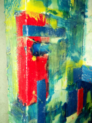 """ Venice #03 "" ( Mose ) 2014 - scented wax stratification on canvas - ( left side detail ) cm 80 x 80 x 15"