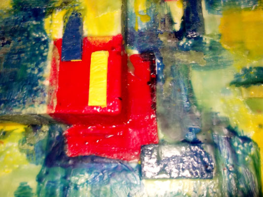 """ Venice #03 "" ( Mose ) 2014 - scented wax stratification on canvas - ( front side detail ) cm 80 x 80 x 15"