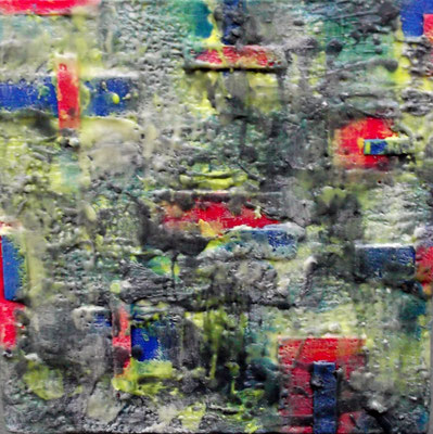 """ Venice #01 "" ( City under storm ) 2014 - scented wax stratification on canvas - ( front side)  cm 40 x 40 x 5"
