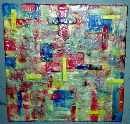 """ Bergamo #01 "" ( underwater city  ) 2014 - scented wax stratification on canvas - ( front side ) cm 40 x 40 x 5"