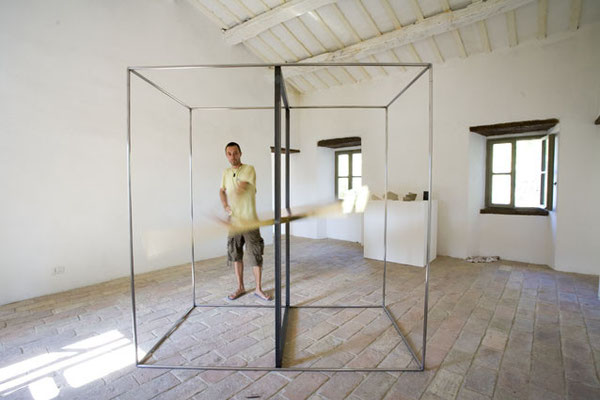 """Domino-Dominio""  2007 -Interactive installation- Brass/ copper / iron- cm 100 x 200 h x 200"