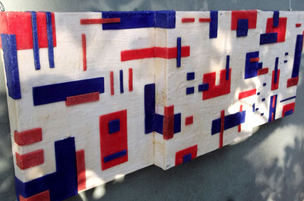 -Untitled # 09 - 2014(9/50) -  scented wax stratification on canvas - ( outside) cm 120 x 40 x 10