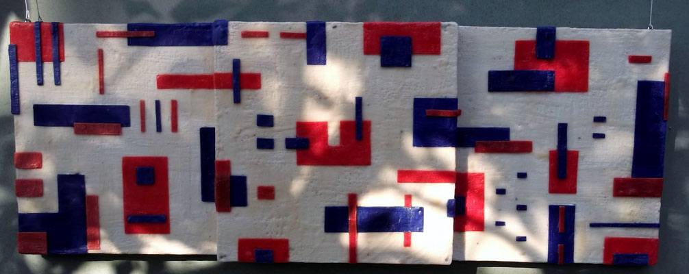 -Untitled # 09 - 2014 (9/50) - scented wax stratification on canvas - ( outside ) cm 120 x 40 x 10