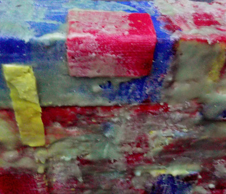 """ Bergamo #01 "" ( underwater city ) 2014 - scented wax stratification on canvas - ( top side detail ) cm 40 x 40 x 5"
