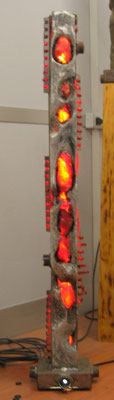 """Energy #05"" 2005- Light sculpture  -Aluminum fusion / iron/polix/neon- cm 25 x 140 h x 25"