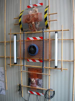 """Kunjerab Gate 99"" a/2 2009 - Light installation   -varius material - cm 200 x 200 x 20 ( dimension variable )"