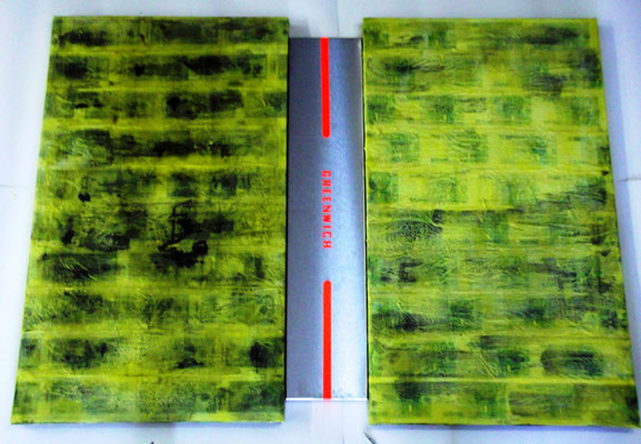 Greenwich - 1/1 2011 (dipthic) notes covered of scented wax on canvas / inox , cm (120x100x4)