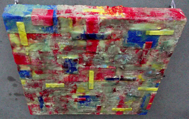 """ Bergamo #01 "" ( underwater city ) 2014 - scented wax stratification on canvas - ( top side ) cm 40 x 40 x 5"