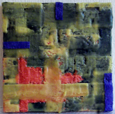 -Memory of site # 01 -  2014 (1x/50)- scented wax stratification on canvas- ( front side) cm 40 x 40 x 5