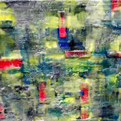 """ Venice #02 "" ( City under storm )  2014 - scented wax stratification on canvas - ( front side) cm 40 x 40 x 5"