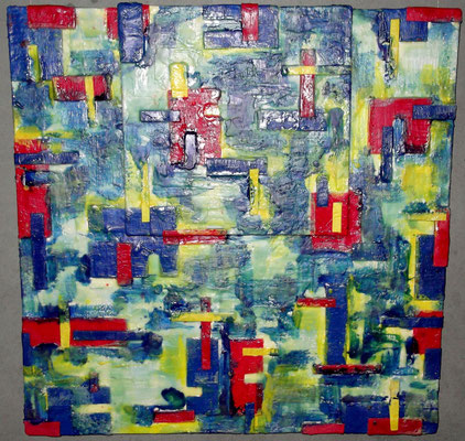 """ Venice #03 "" ( Mose ) 2014 - scented wax stratification on canvas - ( front side) cm 80 x 80 x 15"