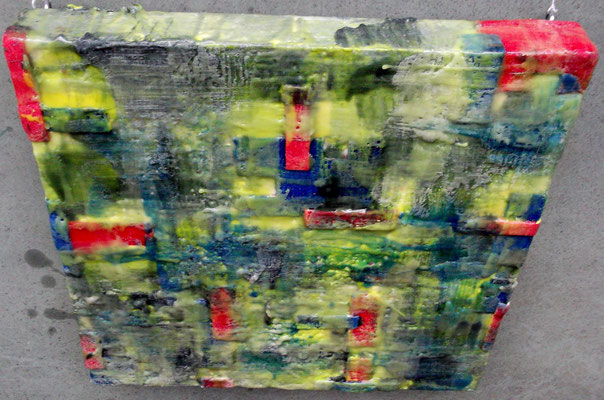 """ Venice # 02"" ( City under storm )  2014 - scented wax stratification on canvas - ( top side)  cm 40 x 40 x 5"