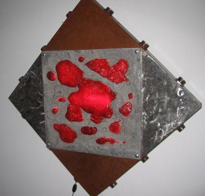 """Energy #04"" a/1 -2003 - Light  sculpture - Aluminum fusion/ iron /polix/neon- cm 100 x 100 x 10"