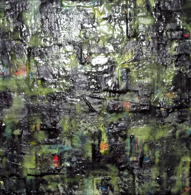 "Undercover site # 02 ""Kom al-Ahmaer"" 2014 (2/50) -scented wax stratification on canvas - ( front side) -cm 40 x 40 x 5"