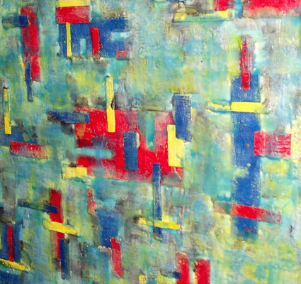 """ Venice #04 "" ( Under water  city)  2014 - scented wax stratification on canvas - ( right side detail) cm 100 x 100 x 3"