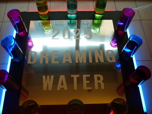 """2025 DREAMING WATER"" (II Vs. ), installation, 140 X 140 X 40h  cm."