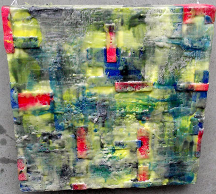 """ Venice # 02"" ( City under storm )  2014 - scented wax stratification on canvas - ( front side) cm 40 x 40 x 5"