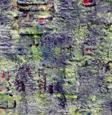 "Undercover site # 03 "" Ani ( The city of fourthy gates ) "" 2014 (3/50)-scented wax stratification on canvas -( front side)- cm 40 x 40 x 5"