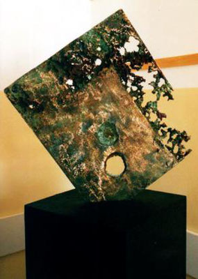 -Earth #02- 2000- Policrome bronze fusion on wood- cm 90 x 70 x 3