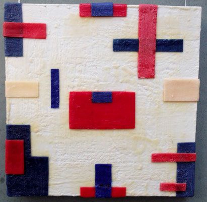 -Untitled # 06 - 2014 (6/50) - scented wax stratification on canvas-  ( front side) cm  40 x 40 x 5