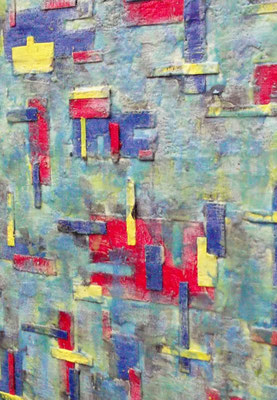 """ Venice #04 "" ( Under water city ) 2014 - scented wax stratification on canvas - ( right side detail ) cm 100 x 100 x 3"