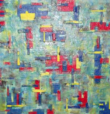 """ Venice #04 "" ( Under water city ) 2014 - scented wax stratification on canvas - ( front side) cm 100 x 100 x 3"