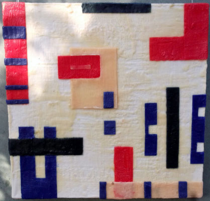 -Untitled # 05 - 2014 (5/50) - scented wax stratification on canvas - ( front outside) cm 40 x 40 x 5