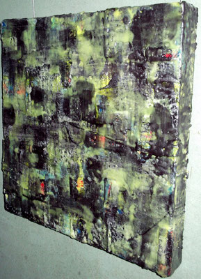 "Undercover site # 02 ""Kom al-Ahmaer"" 2014 (2/50) -scented wax stratification on canvas -( right side) -cm 40 x 40 x 5"