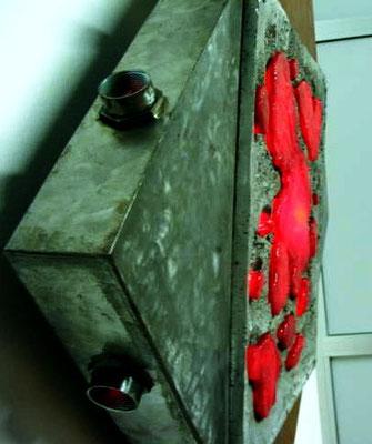 """Energy #04"" a/2 2003  Light  sculpture - Aluminum fusion / iron /polix/neon- cm 100 x 100 x 10"