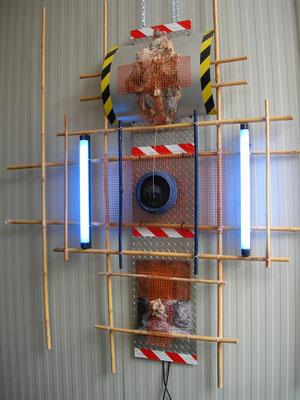 """Kunjerab Gate 99"" a/1 2009 -Light installation   -varius material - cm 200 x 200 x 20 ( dimension variable )"